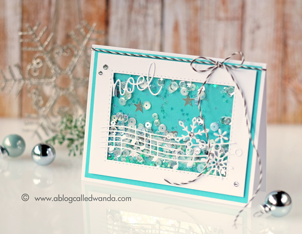 Simon Says Stamp Jingle Snowflakes die. From all of us release. Shaker card. By Wanda Guess #sssfave