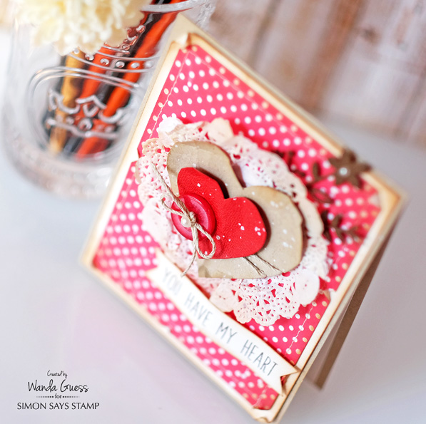 Simon Says Stamp new release - You have my Heart. Valentine Card, Shabby Chic and polka dots. Card by Wanda Guess. #sssfave