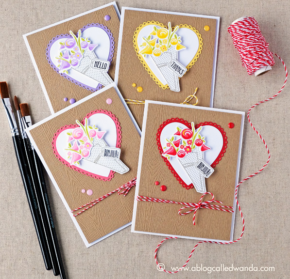 Papertrey Ink Fresh Floral Wrap Ups stamp set. Cards by Wanda Guess