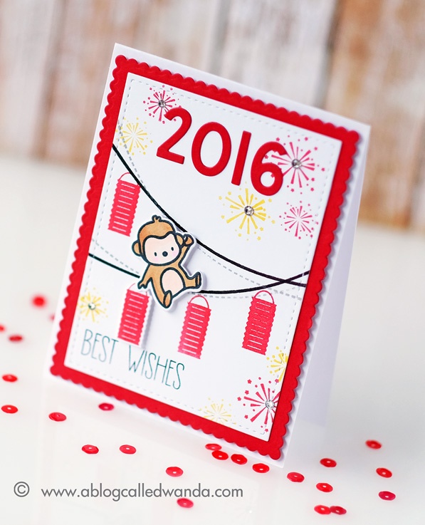 1 Chinese New Year card. 2016 Year of the Monkey. Avery Elle and Mama Elephant stamps. Card by Wanda Guess