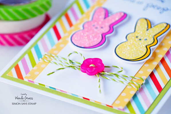 Peeps stamps and dies. Easter card. Prisma Glitter. Simon Says Stamp! Card by Wanda Guess