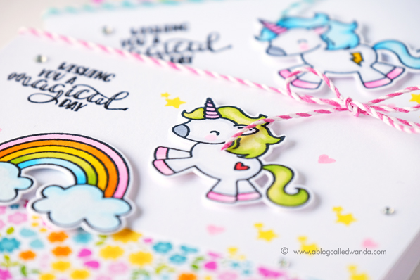 1 AVERY ELLE BE A UNICORN STAMP SET. DOODLEBUG PAPER. CARD BY WANDA GUESS