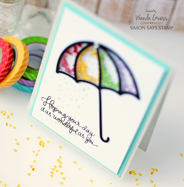 Umbrella Shaker Card. Wanda Guess for Simon Says Stamp! Rainbow gems and handwritten greetings