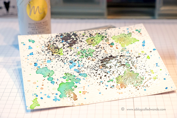 Minc Reactive Mist with Silver foil and watercolor splatters.