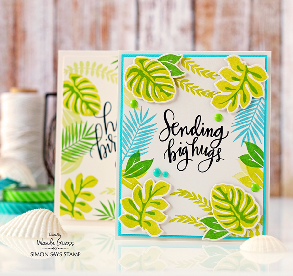 Simon Says Stamp Tropical Leaves cards by Wanda Guess