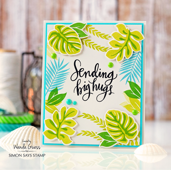 Simon Says Stamp Tropical Leaves card by Wanda Guess