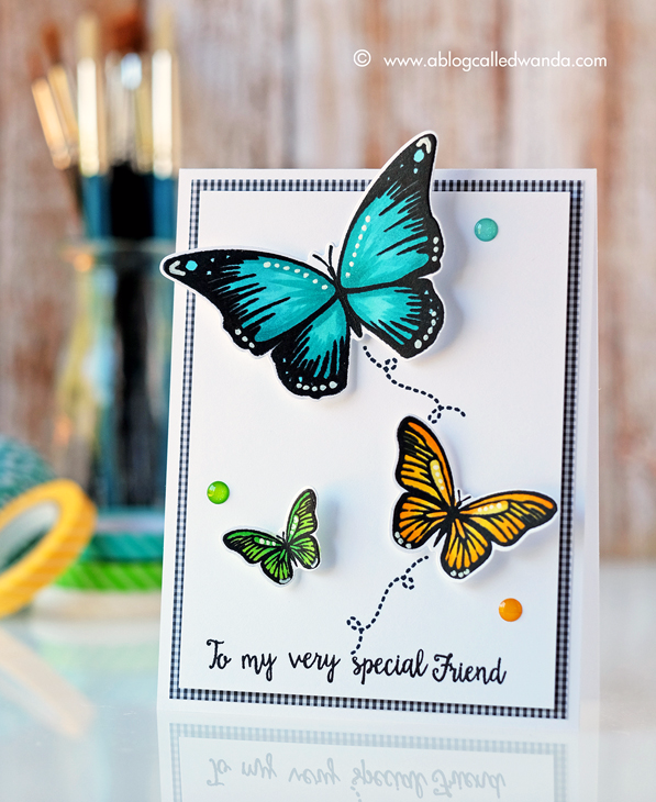 Avery Elle Butterflies stamps. Card by Wanda Guess