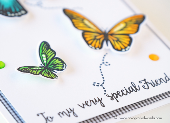 Stamping with MISTI tool. Copic Markers, Avery Elle Butterflies. Card by Wanda Guess