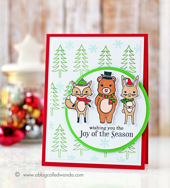 HERO ARTS WINTER FOX, WINTER DEER AND WINTER BUNNY STAMPS. CARD BY WANDA GUESS. HOLIDAY 2016 CATALOG