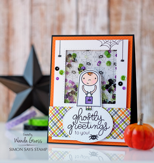 Simon Says Stamp Halloween Card Kit. Ghostly Greetings blog hop. Card by Wanda Guess