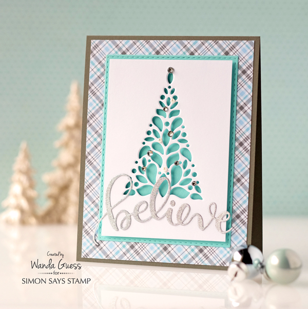 Simon Says Stamp Corbel Tree Die. Project by Wanda Guess. Lawn Fawn Plaid paper and silver paper