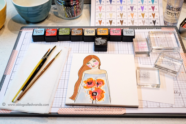 Using Distress Inks to watercolor. Project by Wanda Guess