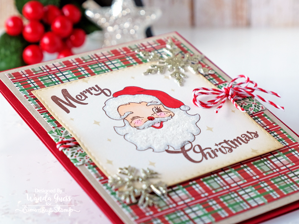 Simon Says Stamp Limited Edition 2016 Holiday Card Kit. Retro Santa card by Wanda Guess