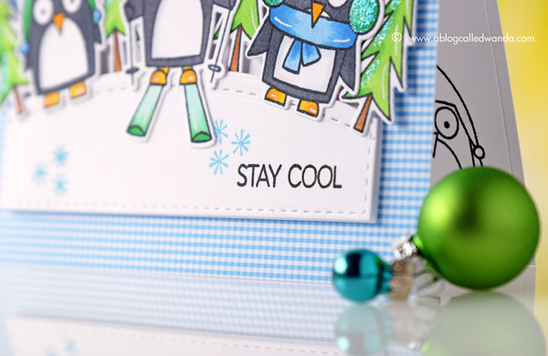 MFT Chill Wishes stamp set. My Favorite Things. Copic Coloring. Penguins. Card by Wanda Guess