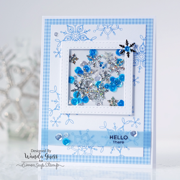 Simon Says Stamp January 2017 Card Kit. Frozen Fractals Stamp Set. Snowflakes. Shaker card by Wanda Guess