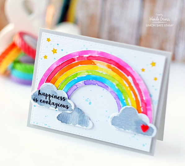 SIMON SAYS STAMP BUILD A RAINBOW. WATERCOLOR RAINBOW CARD BY WANDA GUESS