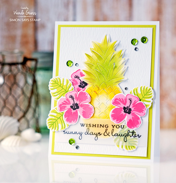 HERO ARTS PINEAPPLE DIE AND HIBISCUS LAYERING STAMPS