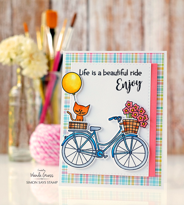 SIMON SAYS STAMP BEAUTIFUL RIDE. BICYCLE STAMP SET. WANDA GUESS