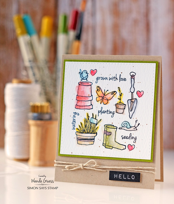 ALTENEW GARDEN GROW STAMP SET. WATERCOLOR BY WANDA GUESS