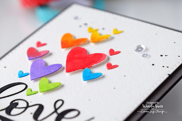 Simon Says Stamp hearts die. Clipping Hearts. Love Die. Card by Wanda Guess