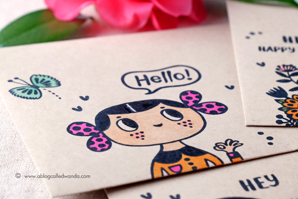 Helen Dardik stamps from Waffle Flower. Envelopes and Happy Mail colored with Copic Markers. By Wanda Guess