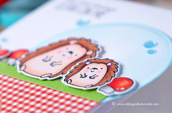 MFT Happy Hedgehogs card by Wanda Guess. Copic Coloring and MFT gingham papers