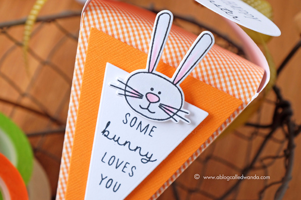 Papertrey Ink Carrot Treat Box. Easter treats. So Sweet stamp set. March 2017 release. Project by Wanda Guess