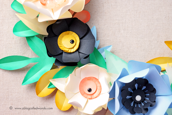 Paper Source Pastel Petals Wreath Kit. Project by Wanda Guess