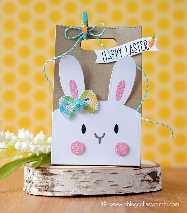 Mama Elephant Favor Bag and Bunny dies. Easter Treat boxes by Wanda Guess. Lawn Fawn Rainbow plaid paper as accents.