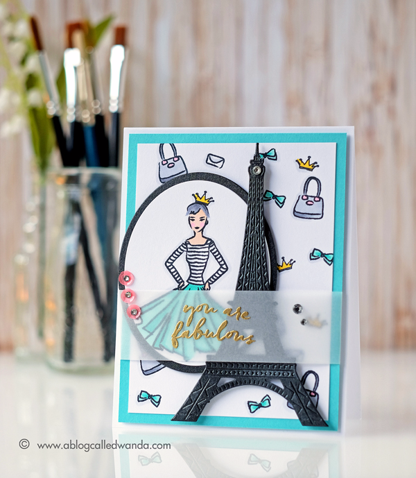 Hero Arts April 2017 Card Kit Blog Hop. Eiffel Tower Die. Project by Wanda Guess