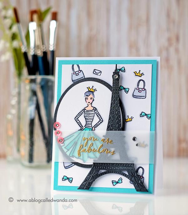 Hero Arts April 2017 Card Kit Blog Hop. Eiffel Tower Die. Project by Wanda Guess