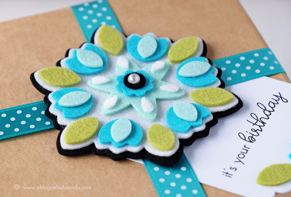 Papertrey Ink Flower Mandalas Dies. Felt project by Wanda Guess