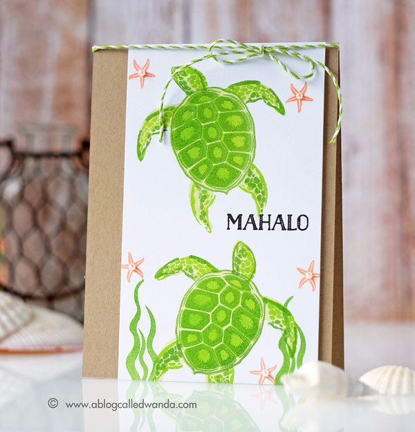 Hero Arts Layering Sea Turtle Clear Stamps. Summer Catalog blog hop. Card by Wanda Guess