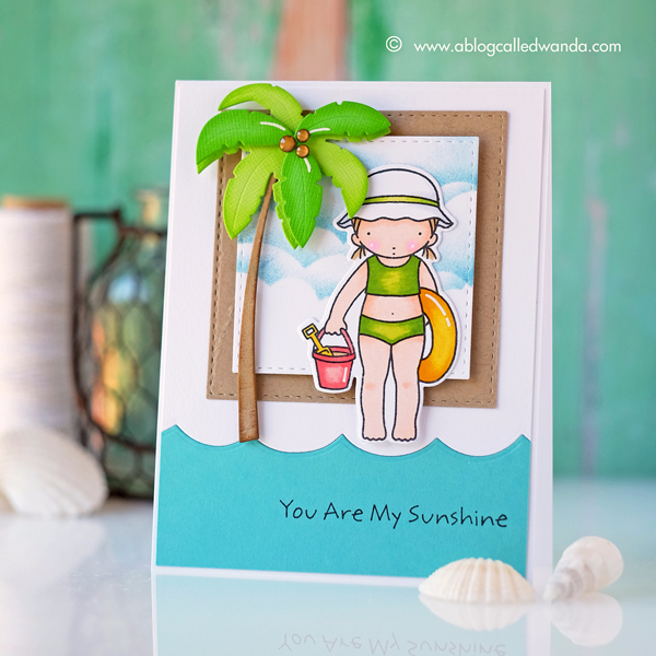 My Favorite Things Stamps. Beach Day Pure Innocence. Summer card. Copic Coloring. By Wanda Guess. Sketch Challenge