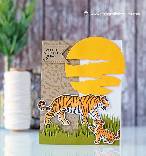 Hero Arts My Monthly Hero Card Kit. June 2017 Safari/Jungle theme. Tigers card by Wanda Guess. Blog Hop