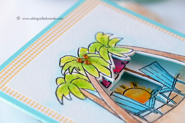 Art Impression Tryfolds stamps. Seas The Day. Card by Wanda Guess. Zig clean color brush markers