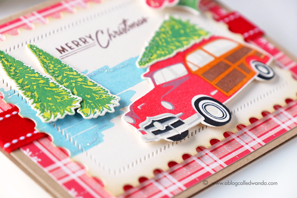 Papertrey Ink On the Wagon stamp set. New Release July 2017. Vintage Christmas card by Wanda Guess. PTI design team.