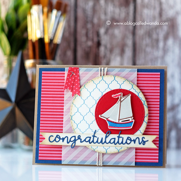 Papertrey Ink new release project. Congratulations card. Cloche Quarters and cover up Quatrefoil stamps.