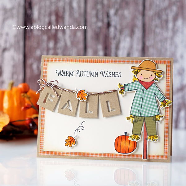Papertrey Ink Autumn Scarecrow. Wanda Guess. PTI Design Team. Autumn card.