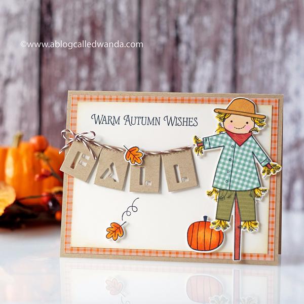 Papertrey Ink Autumn Scarecrow. Wanda Guess. PTI Design Team. Autumn card.