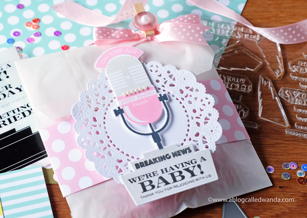PAPERTREY INK BABY SHOWER FAVOR. DOILY DIE, THIS JUST IN STAMP SET
