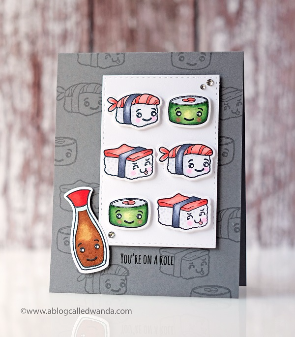 FUN STAMPERS JOURNEY SUSHI PUNS STAMP SET. SUSHI CARD
