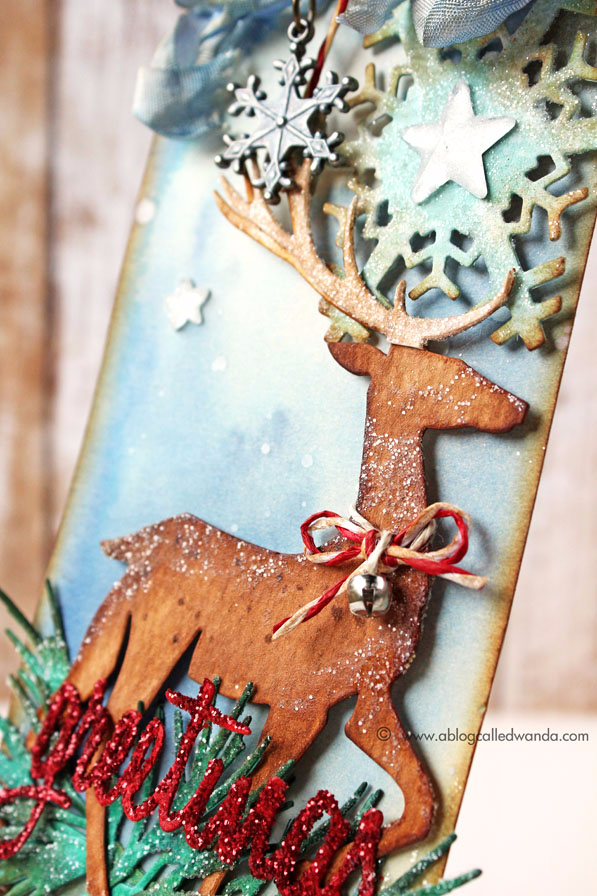 Sizzix Tim Holtz Dies. Snowflakes, Prancing Deer, Greens, and script words