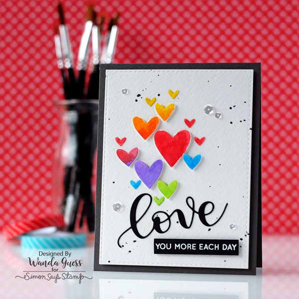 Simon Says Stamp valentine. Clipping Hearts, Distress ink watercolor, love stamps