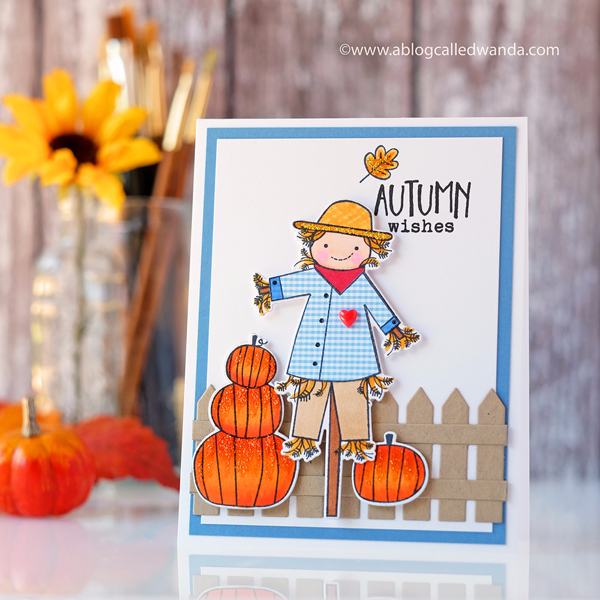 PTI Autumn Scarecrow paper piecing and copics. Papertrey Ink Fall