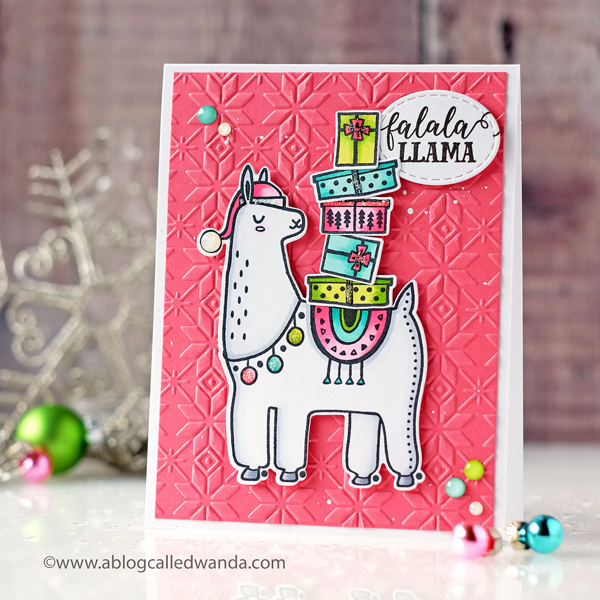 Pink Fresh Festive Llama stamp set. Card by Wanda Guess