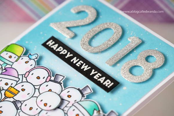 New Year Card. Distress Ink background Simon Says Stamp Numbers dies