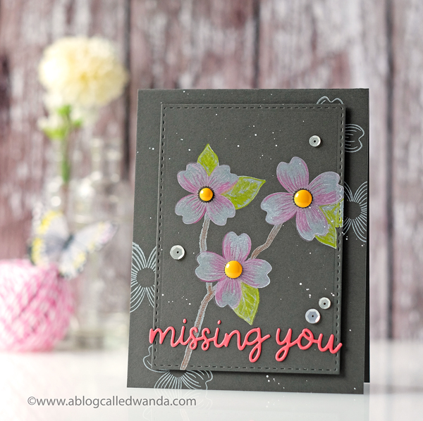 Papertrey Ink Warm Regards Stamp Set. Colored pencils on dark cardstock with white ink.PTI design team Wanda Guess