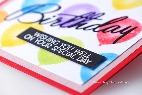 Papertrey Ink birthday card. PTI stencil