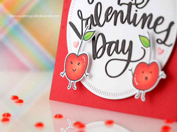 Valentine Day Cherries card. Copic Coloring Avery Elle stamps